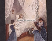 Vintage St. Therese Post Card. Rare Beautiful image of the Blessed Virgin Mary Our Lady of the Smile Healing the child Therese.