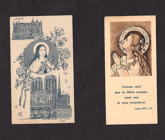 2 Vintage St. Therese Holy Cards.  Rare Holy Cards of the Little Flower, one written in the dialect of Lisieux.