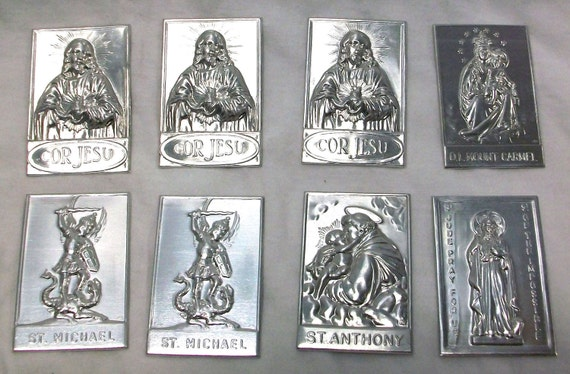 SALE Catholic Tin Medals. Sacred Heart of Jesus, St. Michael, St. Anthony, Our Lady, and St. Jude.  Was 28 dollars now only 16