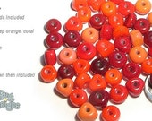 ACCENT Handmade Lampwork Beads 15 Spacers Reds Mix of Red Dark Red Coral by Desert Bug Designs