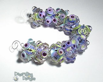 OUTLAND Lampwork Beads Handmade  Set of 10 -  Turquoise Purple Lime Black Silver Shimmery