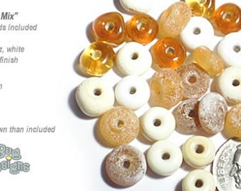 ACCENT Handmade Lampwork Beads 15 Spacers Natural Mix  Rustic Matte Finish by Desert Bug Designs