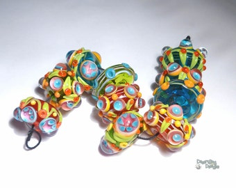 BOHO GARDEN Lampwork Beads Handmade Colorful Big BRight Red Blue Green Yellow LEaves Floral  Set of 10