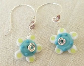40% off SALE *  SPRING FLOWERS Handmade Lampwork Bead Earrings White Turquoise Copper Silver handformed wires  Artist Made Jewelry