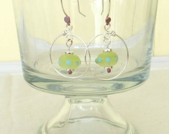 40% off SALE *  MARGARITA HOOPS Handmade Lampwork Bead Earrings Lime Blue Ancient Finish Copper Silver handformed Hoops Artist Made Jewelry