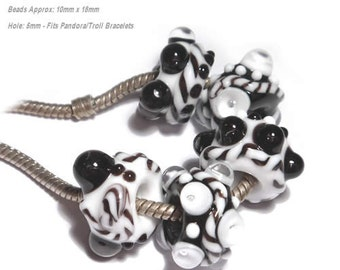TUX and TIES  Handmade Lampwork Beads Black and White MIx Will Fit  Euro Style 5mm Set of 5