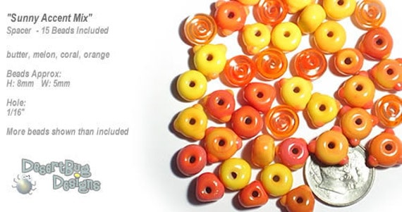 ACCENT Handmade Lampwork Beads 15 Spacers Sunny Mix of Yellow Orange Coral by Desert Bug Designs