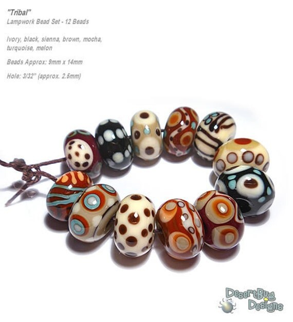 TRIBAL Handmade Lampwork Bead Set in Sienna Brown Melon Turquoise Black Ivory Wild COlors  Set of 12