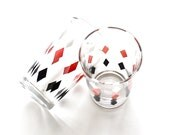 Have A Drink With Me - Vintage Retro Pink and Black Argyle Drinking Glasses