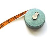 Mechanic's Pal - Vintage Seafoam Green Lufkin Retractable Yellow Cloth Measuring Tape