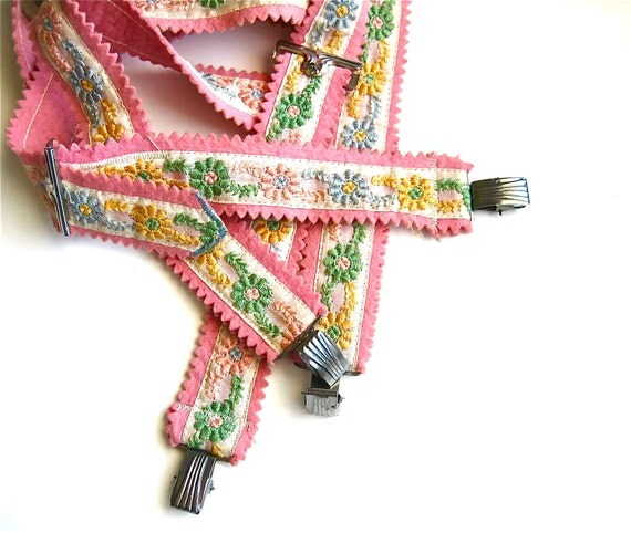 The Cutest Way to Hold 'Em Up - Vintage Pink Embroidered Children's Suspenders