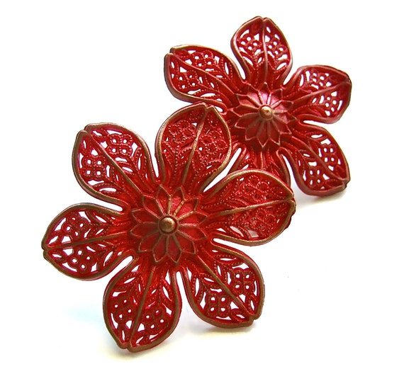 Celebrate With Red - Vintage Red Flower Push Pin Curtain Tie Backs