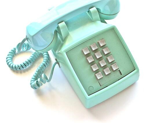 you rang vintage aqua touch tone phone. Black Bedroom Furniture Sets. Home Design Ideas