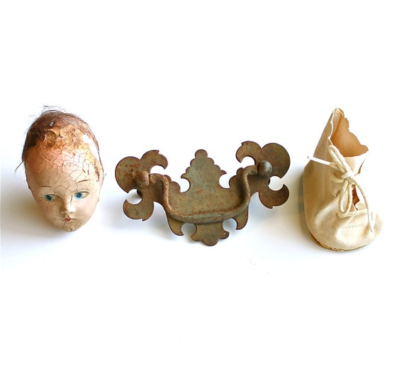 Keep it Weird - Antique Doll Head, Hardware, and Doll Shoe