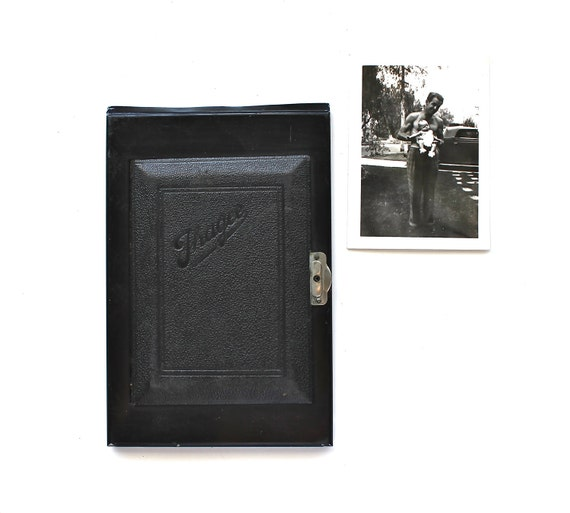 Captured Memories - Antique Leather Covered Metal Camera Plate With Door