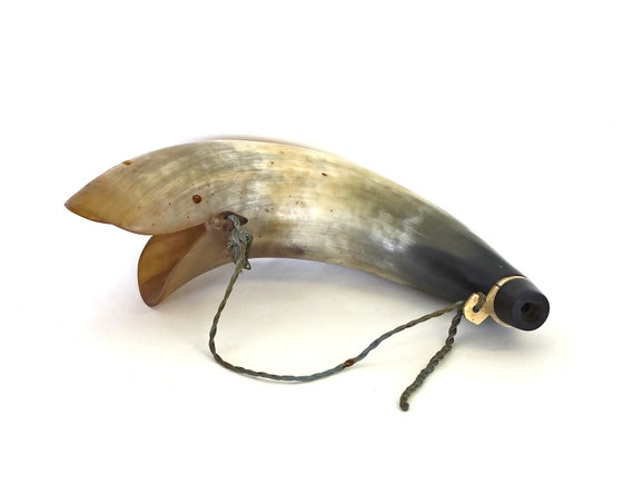 A Whale is Created - Vintage Horn - Carved Water Buffalo Horn