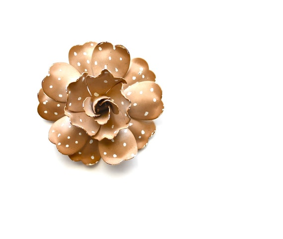 This Momma Always Stayed Neutral - Vintage Brooch - Vintage Enamel Polka Dot Flower Brooch