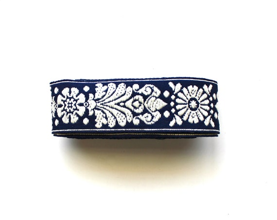 Classic in Navy - Vintage Embroidered Trim