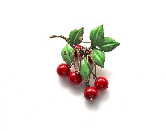 Sweet Like Cherries - Vintage Enamel Brooch