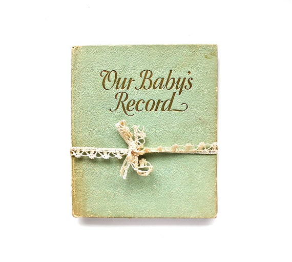 Sweet Memories - Vintage 1930s Baby Record Book with Locks of Hair