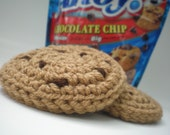 Homemade Chocolate Chip Cookies Crocheted Play Food - Waldorf Inspired - Set of 3