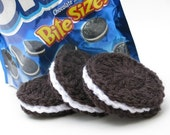 Oreo Style Chocolate Sandwich Cookies Crocheted Play Food - Waldorf Inspired - Set of 3