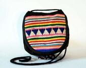 Brightest Bolivian Neon Rainbow Wool Woven Stripes & Triangle Strata South American Drawstring Cross Body Pouch Mini Purse