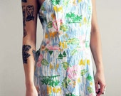 Tropical Paradise Beach Romper Mini Dress W Elastic Sides And Removable Straps