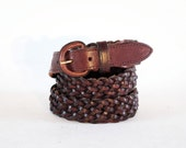 Rich Chestnut Brown Leather 4 Strip Braid Belt. Large. Made In Uruguay.