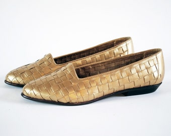 Golden Basket Weave Leather Pointed Toe Loafers Flats 7.5, 8