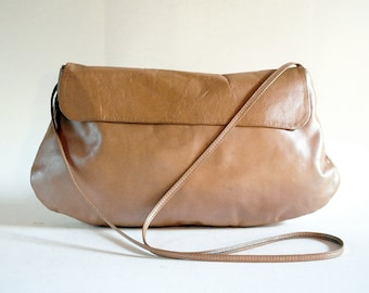 Lux Iridescent Pearl Beige Leather Cross Body Evening Purse. Buttery Soft.