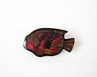 Art Deco Gem Tone Tropical Fish Pin