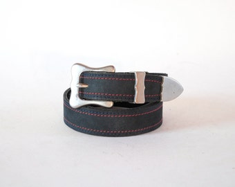 Nautical Navy Algae Nubuck Leather Luxury Belt W Red & Blue Stitching