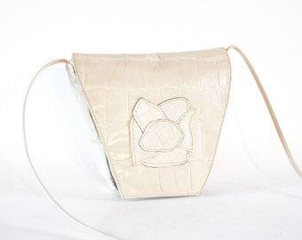 Cream Leather Architectural Art Deco Flower Turtle Embossed Cross Body Bag