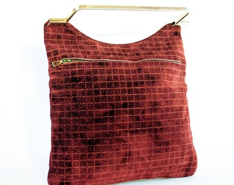 Raspberry Wine Suede Art Deco Grid Purse