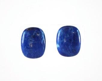 Royal Blue Dyed Lace Agate Slab Pierced Earrings