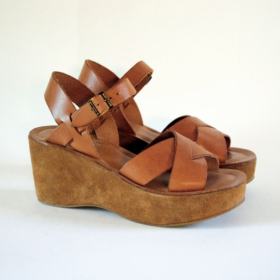 NOS Classic KORK-EASE Ava Sun Pumpkin Suede & Leather Platform Wedges 7, 7.5. Discontinued Color. Hand Made In Brazil.