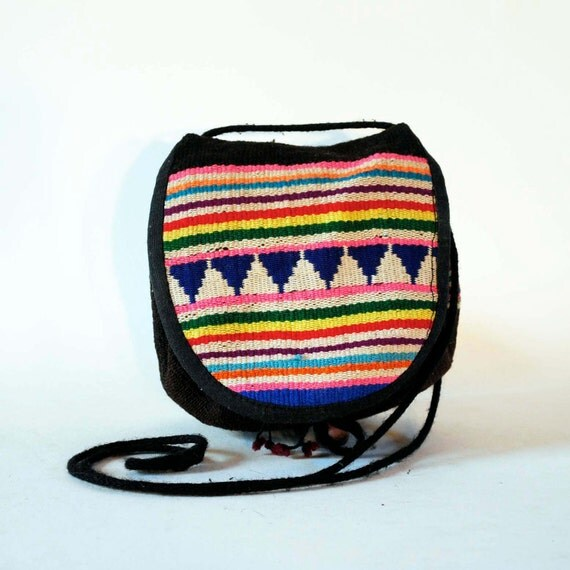 Brightest Bolivian Neon Rainbow Wool Woven Stripes & Triangle Strata South American Drawstring Cross Body Pouch Mini Purse