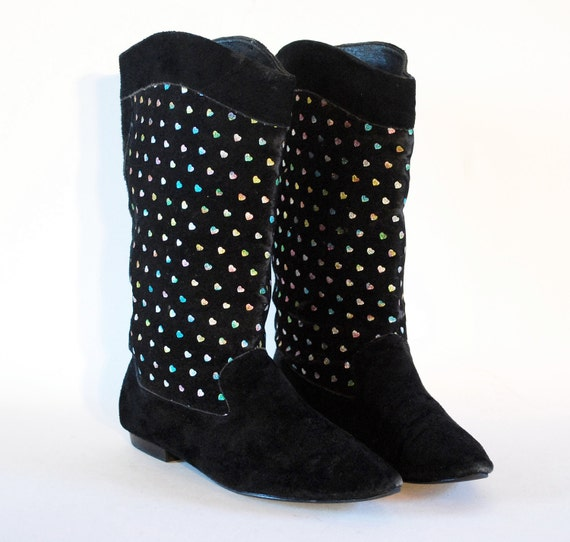 Sparkly Hearts Flocked Fabric & Black Suede Short Pirate Boots 7, 7.5