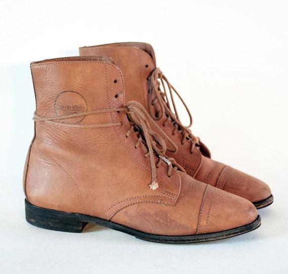 Calvin Klein Sport Pecan Leather Cap Toe Oxford Ankle Booties 5.5. 90s Prairie Grunge Girl.