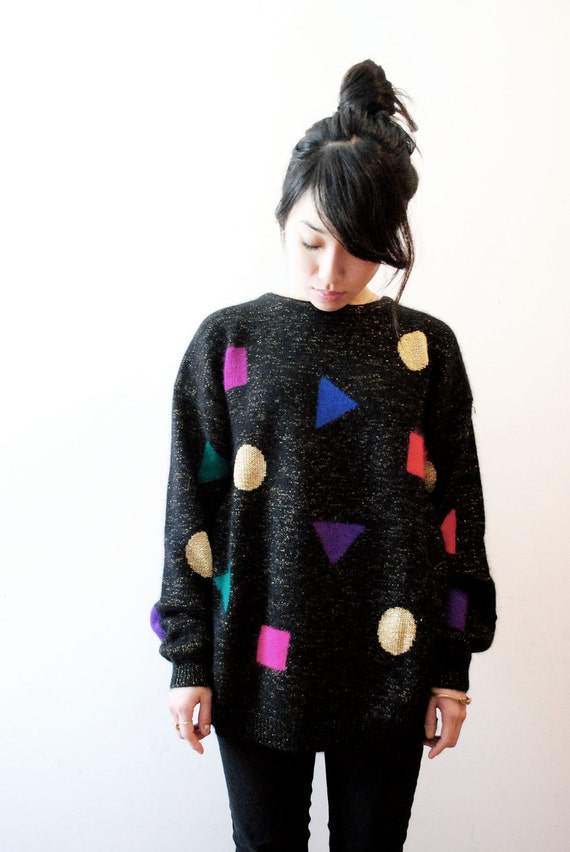 Silky Soft Black Rainbow Geometries Sweater. Angora Rabbit Hair & Lambswool.