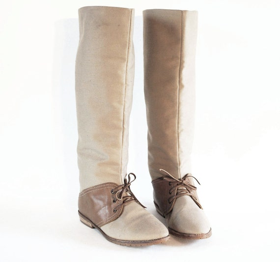 NOS Saddle Oxford Tall Boots 7. Preppy Khaki Canvas & Caramel Leather Pointed Toe Knee High Boots W Stacked Wood Heels.
