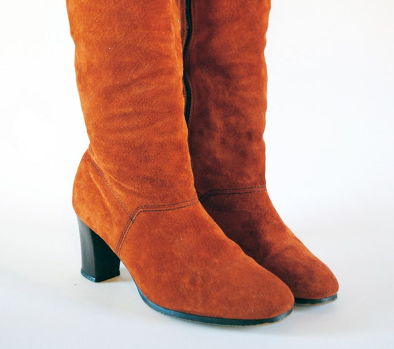 Burnt Orange Suede Tall Boots. Hush Puppies Autumn Leaf Pumpkin Heeled Zip Up Boots 7, 6.5.