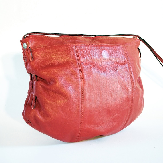 Bright Red Leather Stitch Side Cross Body Bag