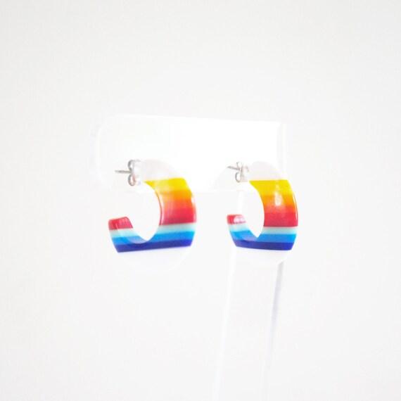 70s/80s Vibrant Rainbow Striped Chunky Hoop Pierced Earrings