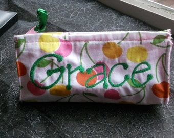 Cherry Tote Charger Accessories Clutch Make-up Bag Pencil Pouch Personalized Monogrammed
