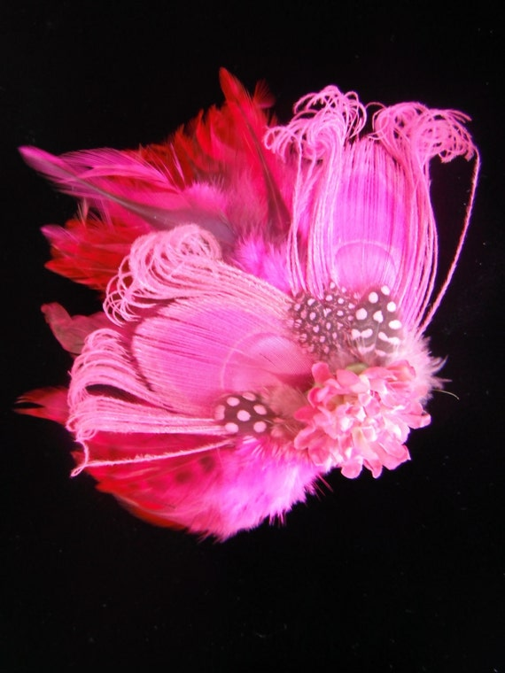 Pink Peacock Feather Hair Clip- Hand Curled Peacock Feathers - Handmade