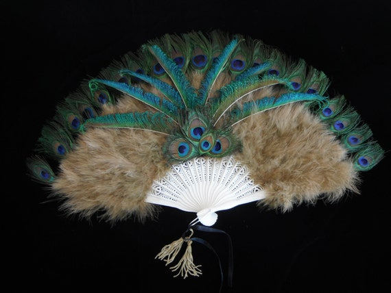 Peacock Feather Fan - Beautiful Olive Marabou Fan with Peacock Eyes