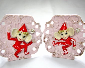 PIXIE ELF Wall POCKETS / Made in Japan / 1960s Kitsch / Pair / Vintage