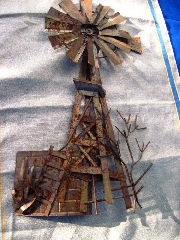 Vintage Metal Windmill Wall Decor